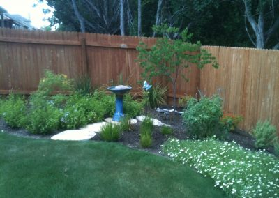 Backyard with Birdbath