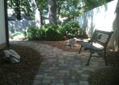 Cobblestone Path and Bench